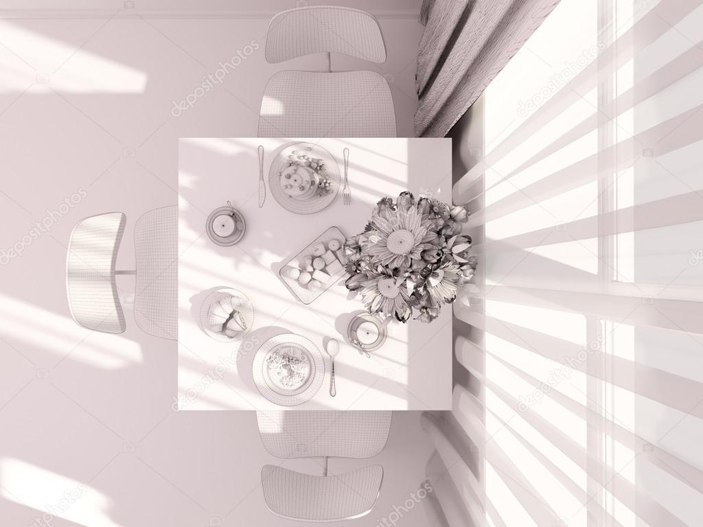 3d visualisering av inredning och design kök i en lägenhet ...