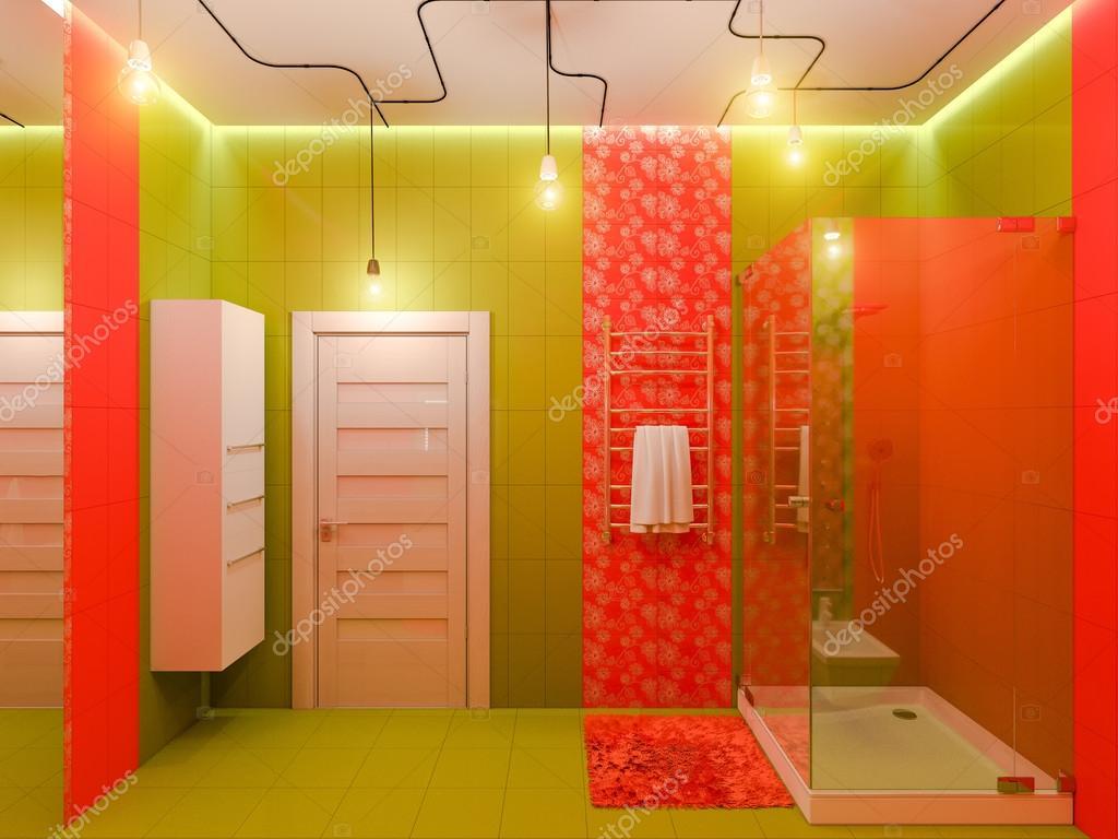 3D-rendering av en badrumsinredning för barn — Stockfotografi ...