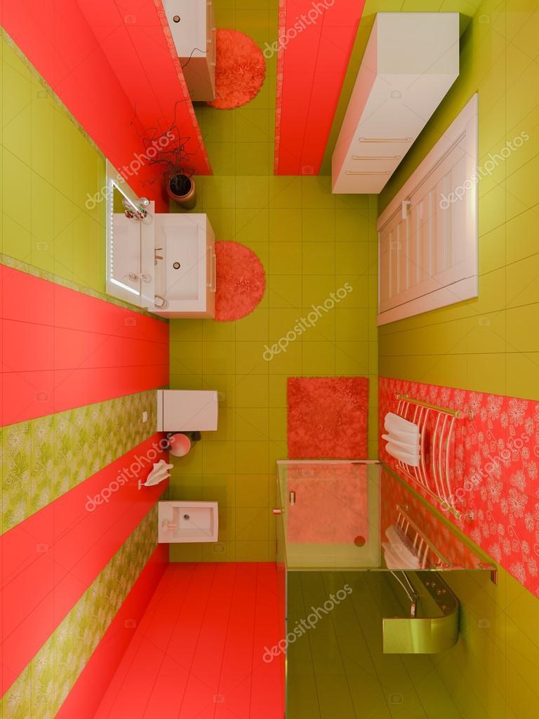 3d rendering av en badrumsinredning för barn — stockfotografi ...