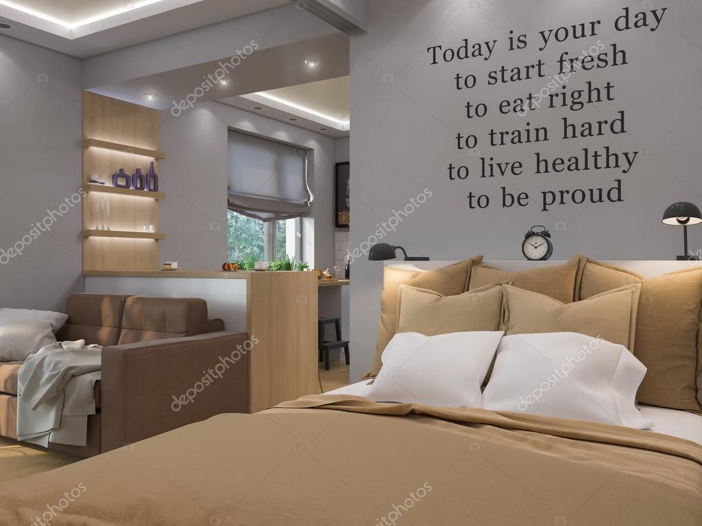 3d rendering soggiorno, camera da letto e cucina interior design ...