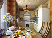 Kitchen in wood frame house — Stock Photo