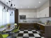 Kitchen with bay window — Zdjęcie stockowe