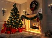New interior with Christmas tree, presents and fireplace. Postcard. — Stock fotografie
