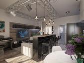 Design interiéru obývacího pokoje s kuchyní — Stock fotografie