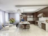 3d render of modern kitchen in a private home — 图库照片