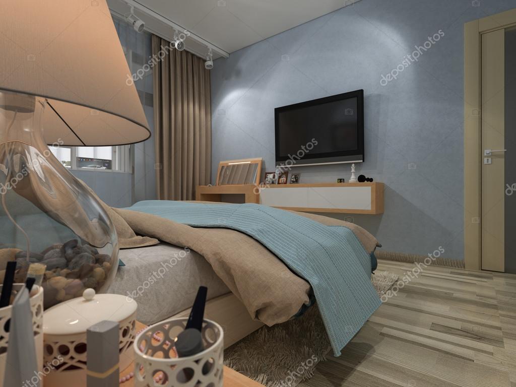 Camera da letto in una casa privata in colori blu e beige foto stock richman21 67771847 - Camera da letto blu notte ...