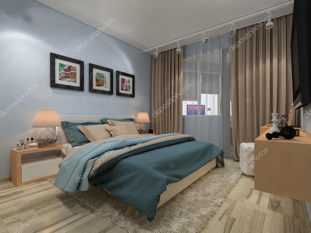 slaapkamer in een prive-huis in blauw en beige kleuren — stockfoto, Deco ideeën
