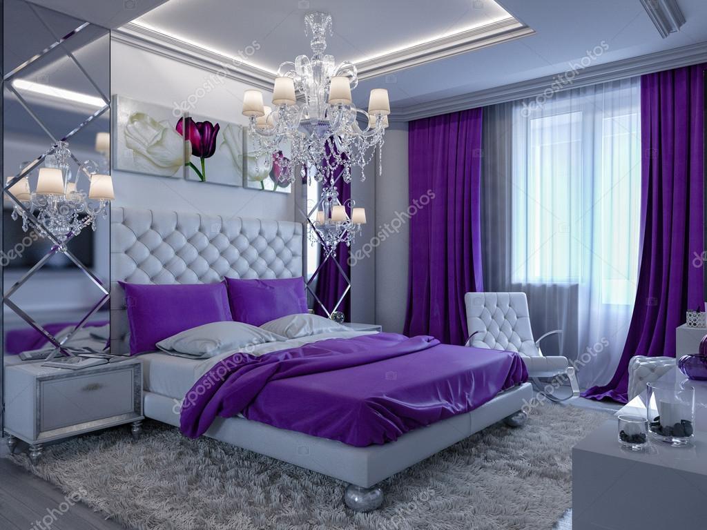 3D-rendering slaapkamer in grijze en witte tinten met paarse ...