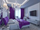 3d rendering bedroom in gray and white tones with purple accents — Stock Photo