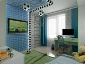 子供の 3 d 可視化の部屋に若いフットボール選手 — ストック写真