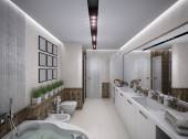 3D rendering of the bathroom in antique style — Stock Photo