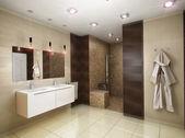 3d Abbildung des Badezimmers in Brauntönen — Stockfoto