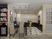 3D illustration of a drawing room and kitchen in style eclectici — Stock Photo