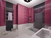 3D illustration of interior design of a pink bathroom — Stock Photo