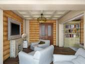 3D illustration of interior design of a bedroom in the house fro — Foto de Stock