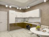 3d illustration of a kitchen in beige tones — Stock Photo