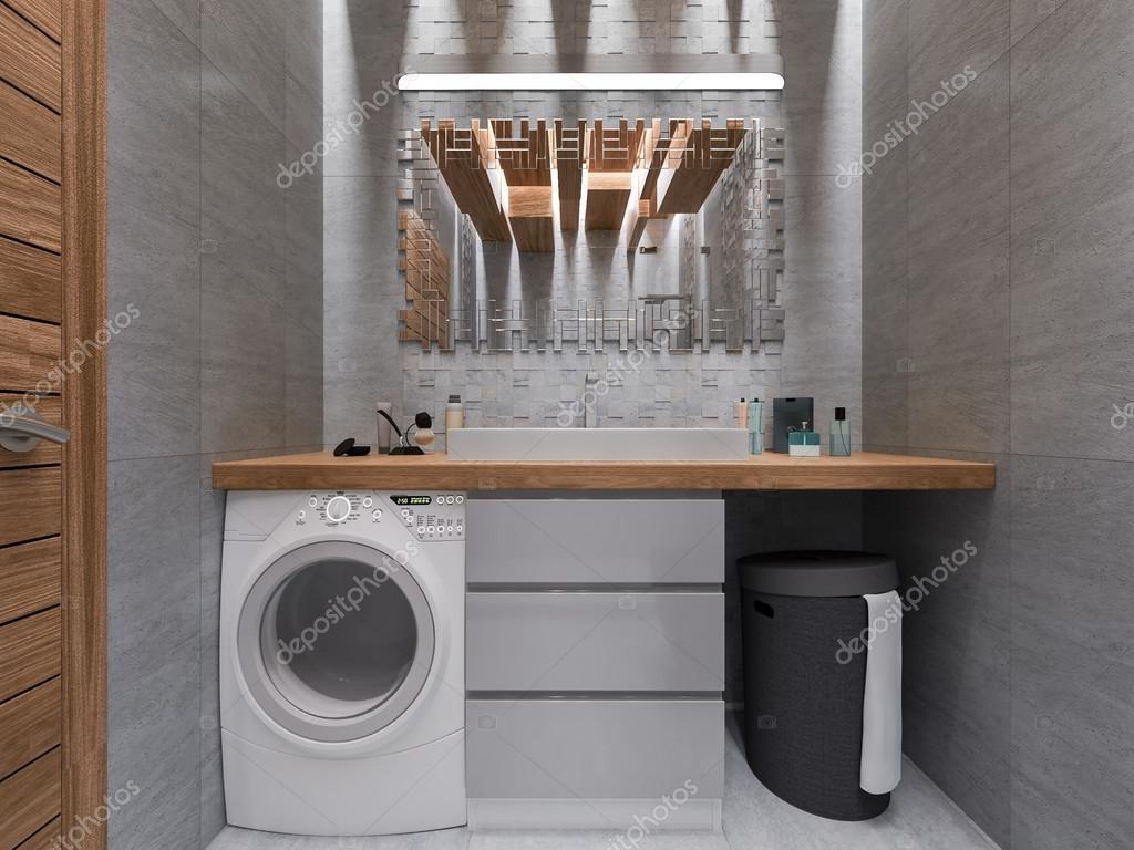 3d visualisering av ett badrum i en grå sten och en mosaik ...