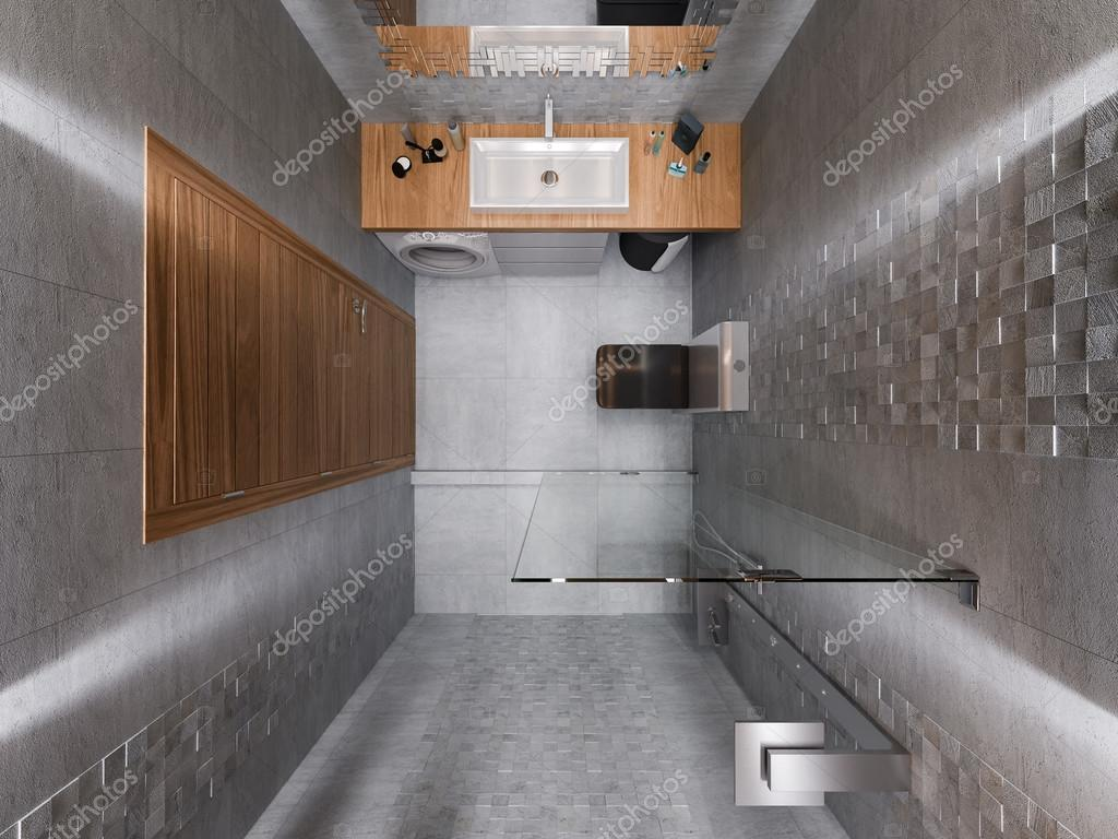 3D visualisatie van een badkamer in een grijze steen en een ...