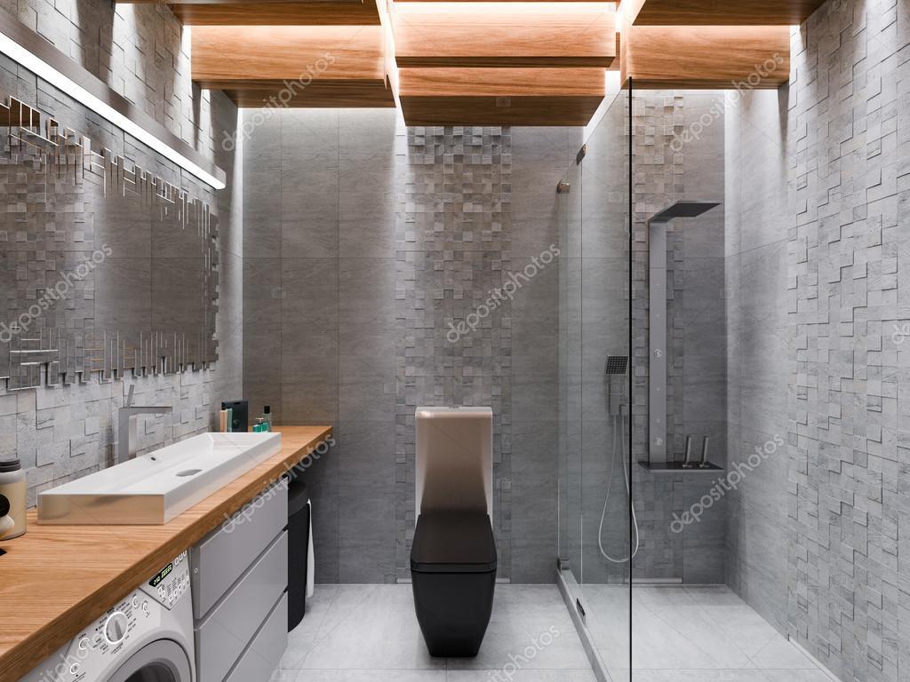 Visualizzazione 3d di un bagno in una pietra grigia e un mosaico ...