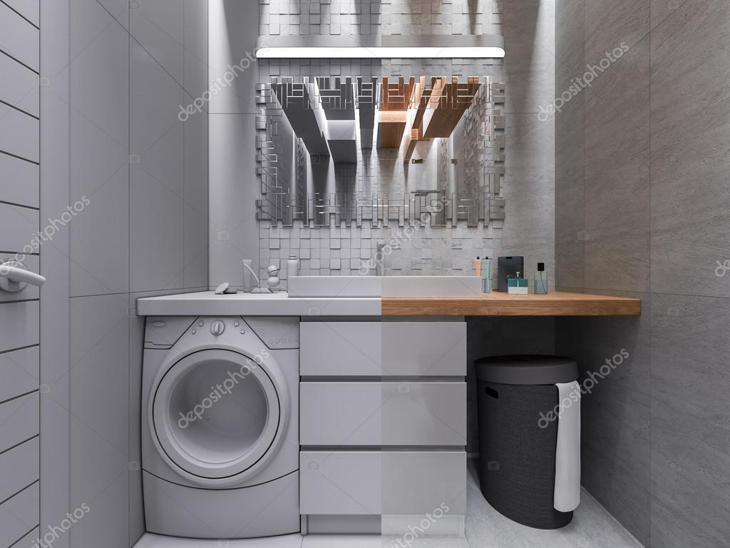 3D-visualisering av ett badrum i en grå sten och en mosaik med ...