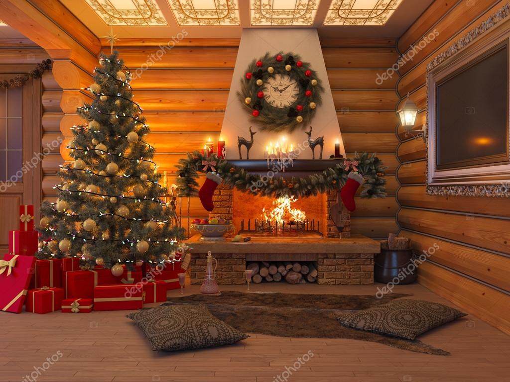 3d illustratie nieuwjaar interieur met kerstboom, presenteert en ...