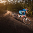 Mountain Bike cyclist riding forest track at sunrise healthy lifestyle active athlete. Downhill biking. — Stockfoto #52558391