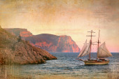 Sailing ship sails along the rocky shore, vintage style — Stock Photo