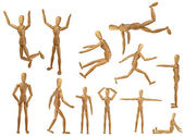 Marionette collection with white background. Wooden man. — Stock Photo