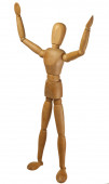 Wooden dummy. Marionette with arms raised. — Stock Photo