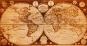 Old wooden map of the northern and southern hemispheres of the earth  — Zdjęcie stockowe