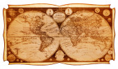 Old wooden map of the northern and southern hemispheres of the earth  — Stok fotoğraf