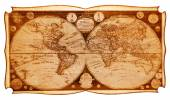 Old wooden map of the northern and southern hemispheres of the earth  — Foto Stock
