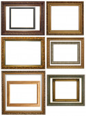 Set of Vintage gold picture frame, isolated with clipping path  — Stock Photo