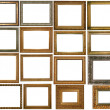Set of many gilded frames. Isolated over white background, may be used for photo or picture — Stock Photo #62048321