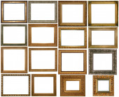 Set of many gilded frames. Isolated over white background, may be used for photo or picture — Stock Photo