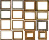 σύνολο πολλά επιχρυσωμένα πλαίσια. απομονωθεί σε λευκό φόντο, μπορεί να χρησιμοποιηθεί για φωτογραφία ή εικόνα — Φωτογραφία Αρχείου