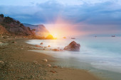 A photo of beach sunset and sea cost — Stock Photo