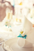 Serving holiday table. napkins — Stock Photo
