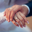 Wedding theme, man and woman holding hands with nice manicure. — Stock Photo #71078529