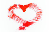 Red heart painting on white background — Stockfoto