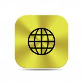 Gold button with world icon — Stock Photo