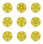 Gold buttons icon isolated — Foto de Stock