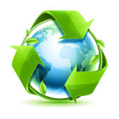 Recycling arrows with leafage and blue earth — Stock Photo