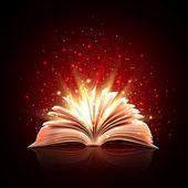 Livro de magia com luzes mágicas — Fotografia Stock