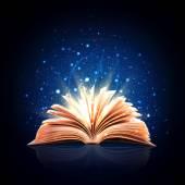 Libro de magia con luces mágicas — Foto de Stock