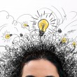 Thinking people with question signs and light idea bulb above — Stock Photo #54851935