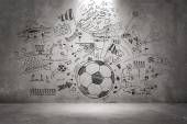 Soccer doodle on the wall — Foto Stock