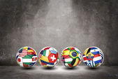 3D football soccer ball with nations teams flags — Foto de Stock