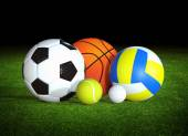 Sports balls on grass — Stock Photo