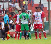 Adults men sports, soccer match Mictlan VS Sayaxc — Stock Photo
